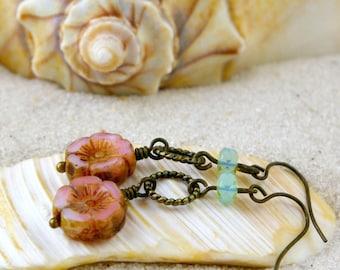Gift For Mom - Dangle Earrings - Bead Jewelry - Handmade Beaded Earrings - Hypoallergenic Earrings - Coral Pink and Mint Green Series