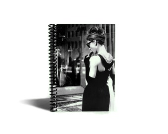 Audrey Hepburn Breakfast at Tiffany 4x6 Inches Blank Sketchbook, Cute Draft A6 Notebook, Pocket Writing Spiral Bound Journal Daily, Under 20