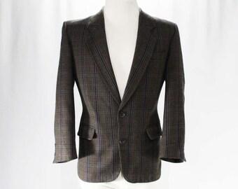 Men's Small Suit Jacket - Designer Hardy Amies - 1950s-Inspired Mid Century Look Men's Wool Sport Coat - 80s Does 50s - Chest 40 - 47290