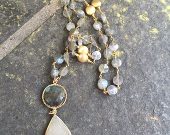 Labradorite, Charmpagne Druzy on Labradorite Rosary Chain Necklace    drusy pendant  rosary chain necklace   Layering Necklace