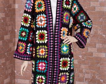 Granny square crochet cardigan festival cardigan,bohemian cardigan