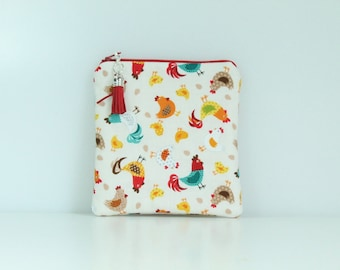 Colourful Hens  Notions Pouch and Purse
