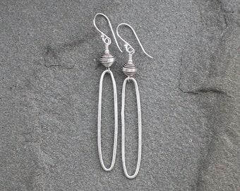 Thai Silver Earrings, Thai Silver Oval Hoop Dangles, Rustic Silver Earrings, Hill Tribe Silver Rustic Earrings, Thai Fine Silver Dangles