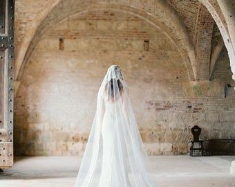 Cathedral Veil, Wedding Veil, Mantilla Veil, Bridal Veil, Long Veil, Lace Veil, Ivory Veil, Traditional Veil, Lace Mantilla Veil - Style 301