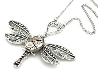 Dragonfly Necklace With Connector and vintage watch -  Steampunk Watch Dragonfly Pendant