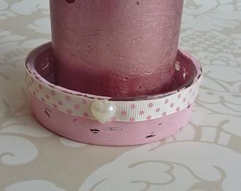Dusky pink candle holder