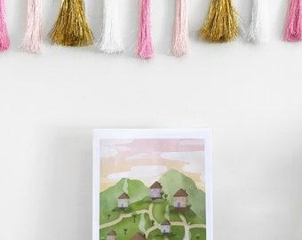 Hillside Village - A4 Digital Illustration Print