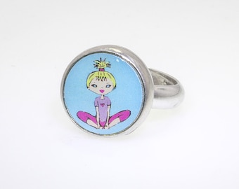 Interchangeable kids ring, pewter jewelry, children's jewelry, bicycle ring #22.