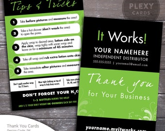 Black and green it works business cards printed shipped it works thank you postcards with tips for wraps printed shipped colourmoves Choice Image
