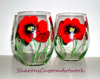 Poppies Hand Painted Wine Glasses Red Poppies Red Flowers - Set of 2 / 21 oz. Stemless Wine Glasses Hand Painted Wine Glasses Valentines Day