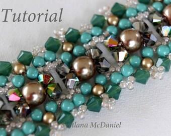 PDF tutorial Beaded Bracelet Her Eyes_Swarovski crystals_seed beads_pearls_bicones Bead weaving