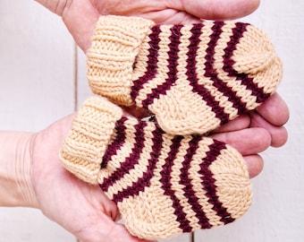 Wool baby socks Striped newborn socks Newborn knit socks Baby knit socks Striped baby socks Newborn wool socks Hand knit baby newborn socks