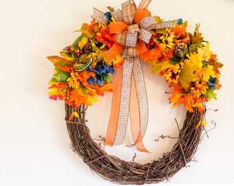 Wreath Grapevine Fall Autumn Silk Flowers Pine Cones Ribbon Bow Berries