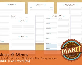 Meals and Menus, Junior, Half-Letter, Recipe, Meal Planner, Pantry, Shopping List, Printable INSTANT DOWNLOAD