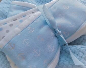 Newborn Baby Boy Blue Anchor burp cloth set of 3