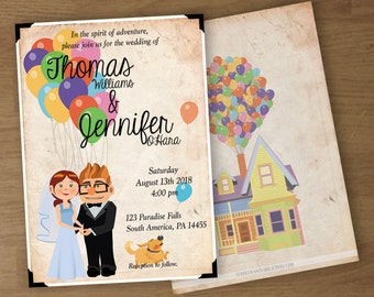 Wedding Invitation - UP Theme -  Digital Printable Custom Invitation, RSVP cards, and Thank You Cards - 5 x 7