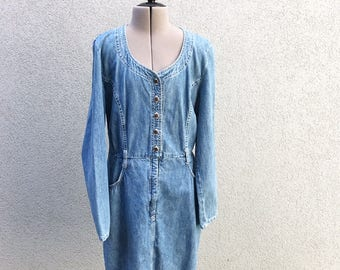Vintage 90s Denim Jumper Dress, Jean Dress, Button Up Dress, Made in Canada, Size M