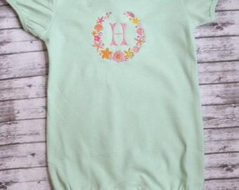 Monogrammed Bubble Romper, Baby Girl Monogrammed Romper, Embroidered Romper