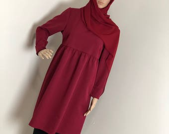 kneelengthred tunic, modestblouse,longshirt, dress,modestclothing,islamicclothing,muslimoutfit