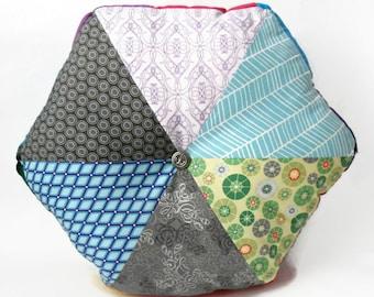 "A Cold Winters day, 16"" Handmade Stuffed Hexagonal Wedge Cushion / For the home / Home Decor / Throw Pillow / Floor Pillow / Modern Pillow"