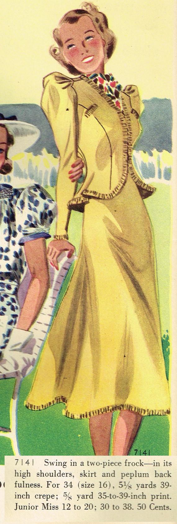 1930s House Dresses 1930s Original Vintage Butterick Pattern 7141 Junior Misses 2 PC Dress Size 33 B1930s Original Vintage Butterick Pattern 7141 Junior Misses 2 PC Dress Size 33 B  AT vintagedancer.com