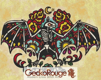 Day of the Dead 'Bat' By Illustrated Ink -  Modern Tattoo Cross Stitch Kit