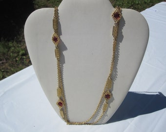 Red Bezel Chain Necklace