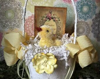 Easter Basket, Peat Pot Basket, Easter Decoration, Yellow Easter Basket with Duck, Baby Basket, Altered Peat Pot