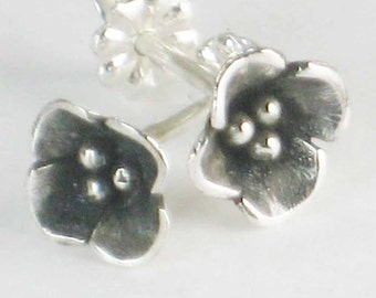 Flower Earrings, Sterling Silver Earrings,  Metalwork Jewelry