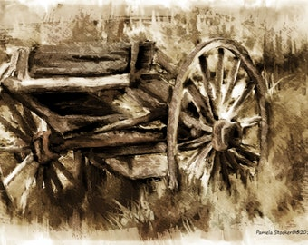 This old Wagon Cart of Mine, a watercolor painting, with digital overlays to age the art work and make it vintage