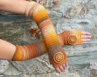 "Long fingerless gloves crochet ""Autumn"" - one size"
