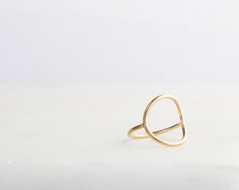Simple Gold Circle Ring, Large Oval Ring, Geometric Jewelry, Round, Circle, Simple Gold Ring, Gold Filled, Sterling Silver, Handmade
