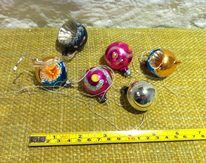 Vintage 50s Glass bullet christmas decoration accessoires 6 pieces