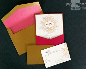 Starburst Wedding Invitation - SAMPLE - Monogram Wedding Invitation - Wedding Invites, Custom Design - Fireworks - Ceremony Cards