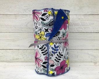Unpaper towels, reusable paper towels, cloth paper towels, snapping paper towels - Freestyle Floral // gift //