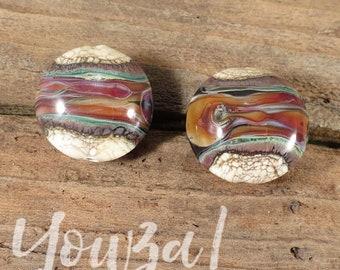 Small Lentils - Glass Lampwork Bead Pair