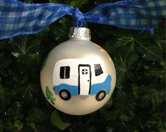 RV Trailer - Happy Camper Ornament, RV Travel, Personalized Christmas Ornament, Travel Trailer Bauble, Airstream Vacation, Camping Vacation
