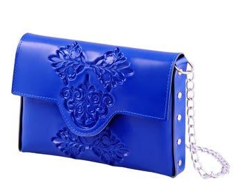 Clutch purse / non leather clutch purse / vegan clutch bag / blue clutch bag / clutch crossbody bag / colorful clutch bag / splash of color