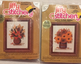 "Vintage Jiffy Stitchery - 2 Kits -""Petite Floral Bowl"" - ""Petite Floral Barrel"" - Designed by Betty Miles"