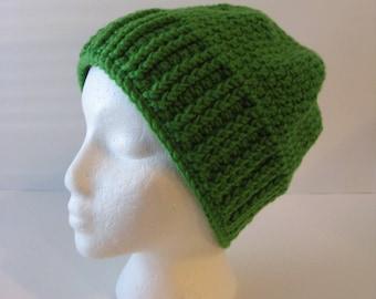 Womens Crochet Beanie Hat, Womens Crochet Slouchy Hat, Green Crochet Beanie, Green Slouchy Hat, Green Beanie, Slouchy Beanie, Green Hat