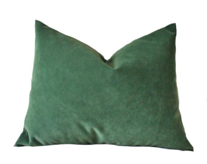 Designer Decorative Pillow Cover - Green Velvet - Solid Green Throw - Dark Green Pillow Cover