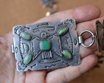 1930's Thunderbird Concho Belt / Fred Harvey Era Coin Silver Belt / Vintage Turquoise Link Belt