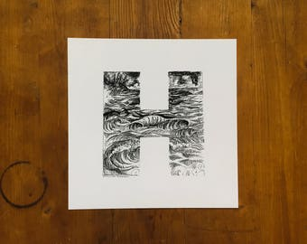 "Fine Art Print | ""H"" | India Ink Typography Print"