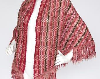 Missoni Foulards Authentic Orange Label Pink Knit Fringe Shawl Wrap