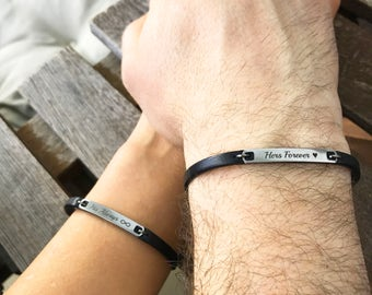 Always and Forever Matching Couple Bracelets Leather Bracelet His and Her For Her Personalized Matching Jewelry Boyfriend Girlfriend Gift