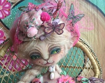 Duchess Kitty art doll pink Marie Antoinette style dress butterfly hat
