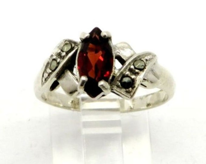 Garnet Glass Ring, Vintage Sterling Silver Ring, Garnet Ring, Marcasite Ring, Statement, Ring, Cocktail Ring, Unique Gift For Her
