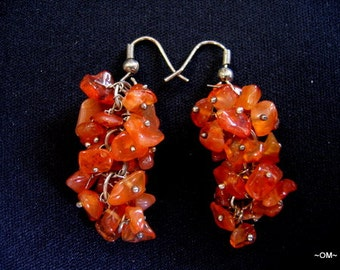 CARNELIAN Gemstone chip Earrings Silver wires for Pierced Ears