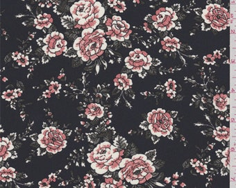 Navy Blue Floral Crepe de Chine, Fabric By The Yard