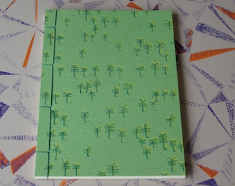 Hand Stitched Notebook - Palm Tree Screen Print